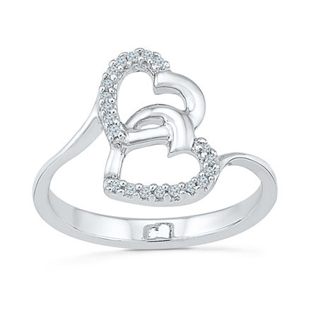 Womens Diamond Accent Genuine White Diamond Sterling Silver Heart Cocktail Ring, 7 , No Color Family