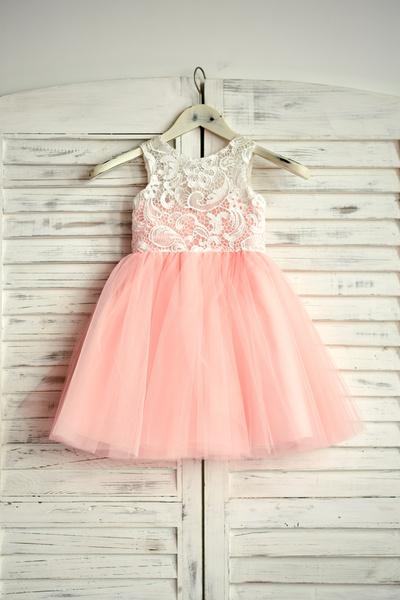Milanoo Blush Pink Flower Girl Dress Lace Tulle Tutu Kids Pageant Dress Short Party Dresses