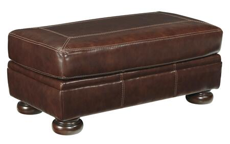 Banner Collection 5040414 Ottoman with Leather Upholstery  Stitched Detailing  Bun Feet and Traditional Style in