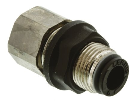 Legris Pneumatic Bulkhead Threaded-to-Tube Adapter, Push In 6 mm, G 1/8 Female BSPPx6mm (5)