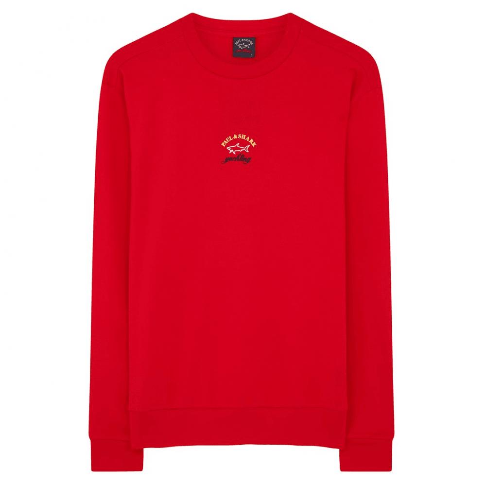 Paul & Shark Kids Badge Logo Sweatshirt Colour: RED, Size: 12 YEAR