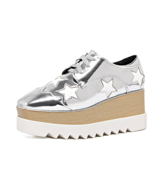 Milanoo Women Oxfords 2020 Silver Platform Star Pattern Wedge Sneakers