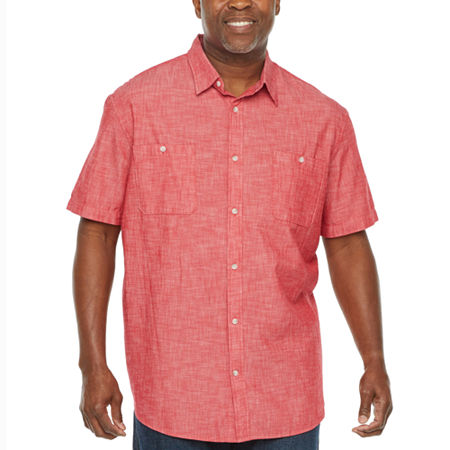 The Foundry Big & Tall Supply Co. Big and Tall Mens Short Sleeve Button Front Shirt, 2x-large Tall , Red