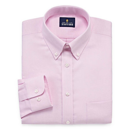 Stafford Mens Wrinkle Free Oxford Button Down Collar Big and Tall Dress Shirt, 20 34-35, Pink