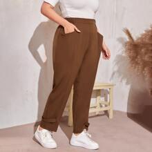 Plus Pocket Side Buttoned Strap Hem Pants