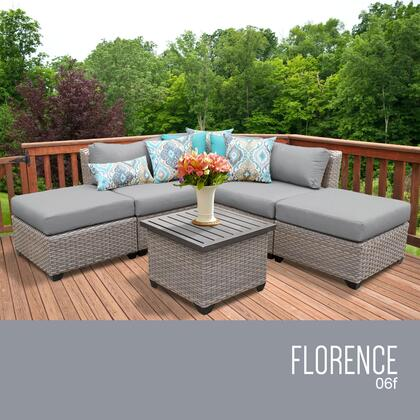 FLORENCE-06f-GREY Florence 6 Piece Outdoor Wicker Patio Furniture Set 06f with 2 Covers: Grey and