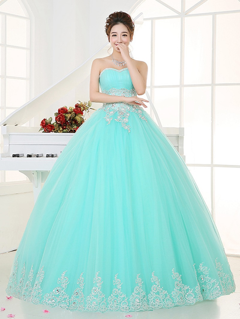 Ericdress Sweetheart Ball Gown Appliques Crystal Pleats Long Quinceanera Dress