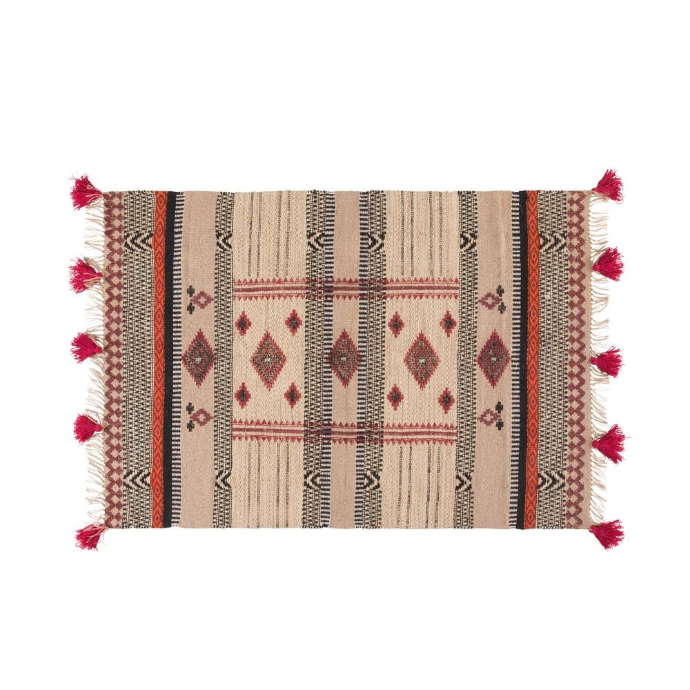 Gewebter Teppich aus Jute und Baumwolle mit grafischen Motiven 140x200