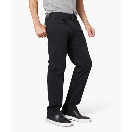 Dockers Men's Straight Fit Jean Cut Khaki All Seasons Tech Pants D2, 33 30, Black