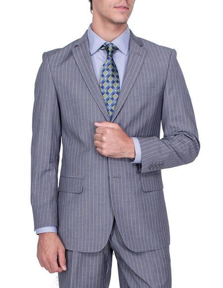 Men's Stripe Single Breasted Giorgio Fiorelli Brsuits Flat Front Pants