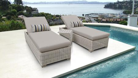 Coast Collection COAST-2x-ST Patio Set with 2 Chaises   1 Side Table - 1 Set of Beige