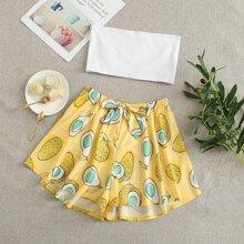 Tube Top With Pears Print Shorts Pajama Set