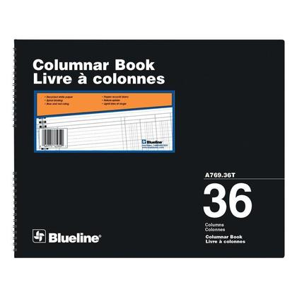Blueline@ A769 Columnar Book Accounting Book - Recycled White Paper - 36 col.