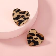 Leopard Print Heart Design Stud Earrings