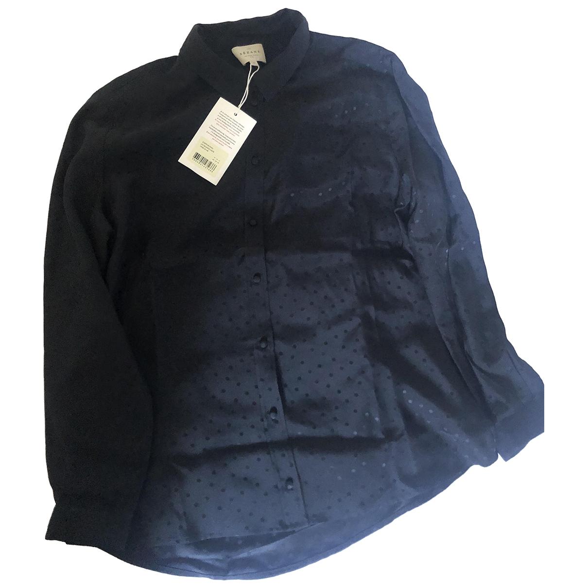 Sézane \N Black Silk  top for Women 44 FR