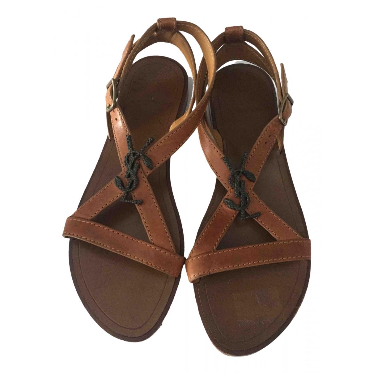 Saint Laurent \N Camel Leather Sandals for Women 37.5 EU