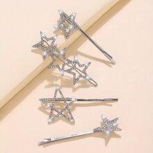 4pcs Diamond Star Hairpin