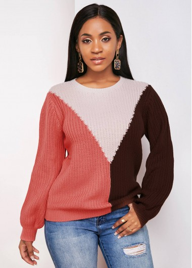 Trendy Contrast Lantern Sleeve Round Neck Sweater - M