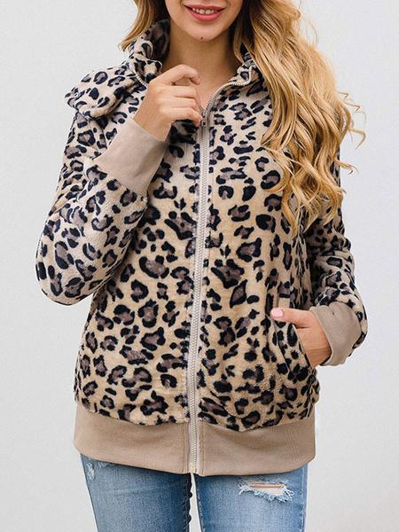 Milanoo Abrigos de piel sintetica Mangas largas Chaqueta de piel sintetica informal Collar de cobertura en capas Abrigo de mujer de leopardo