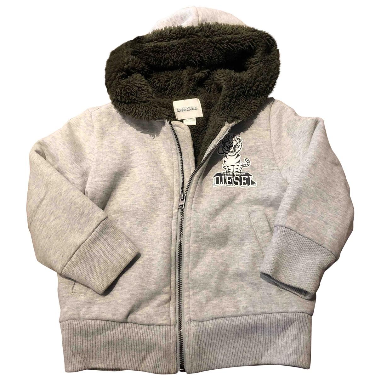 Diesel - Blousons.Manteaux   pour enfant en coton - gris