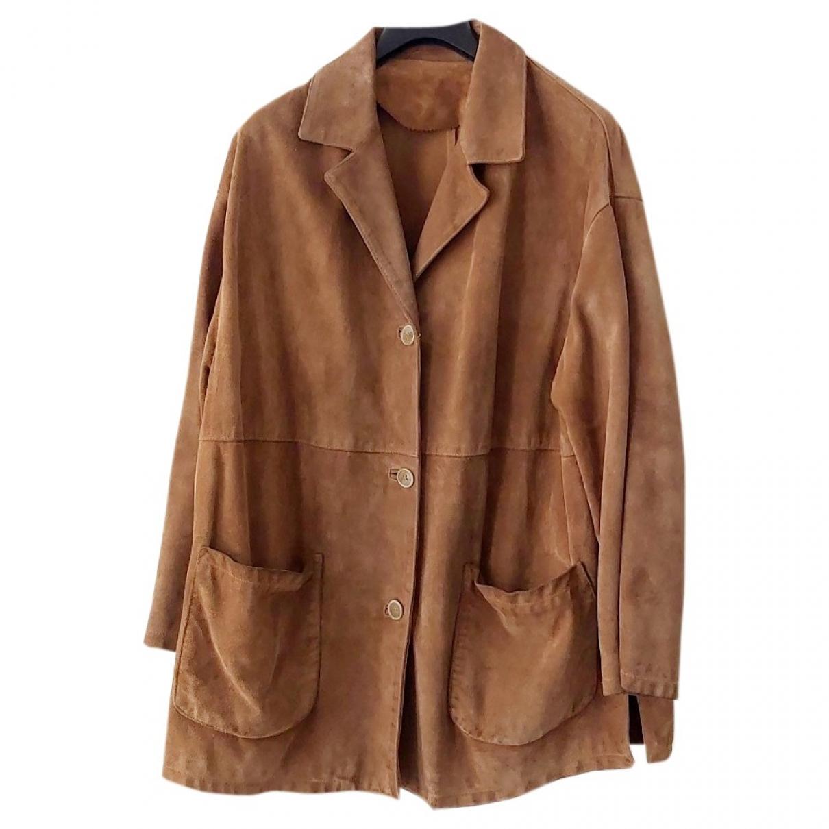 Non Signé / Unsigned Oversize Camel Suede jacket  for Men XL International
