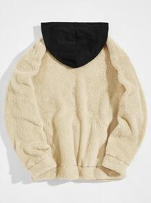 Men Contrast Hooded Teddy Sweatshirt