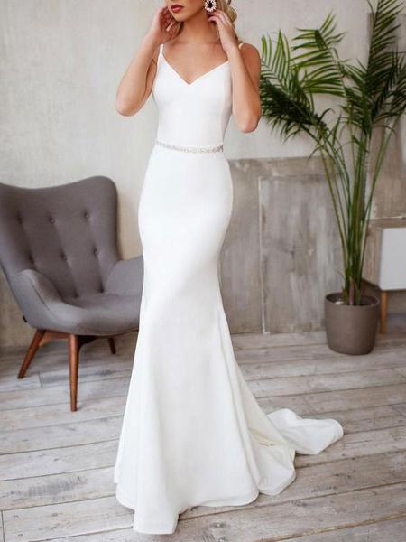 Milanoo Vestidos de novia sencillos de silueta sirena Marfil con correa spaghetti sin mangas cintura natural con faja de elastano de marca LYCRA