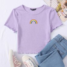 T-Shirt mit Regenbogen Stickereien und gekraeuseltem Saum