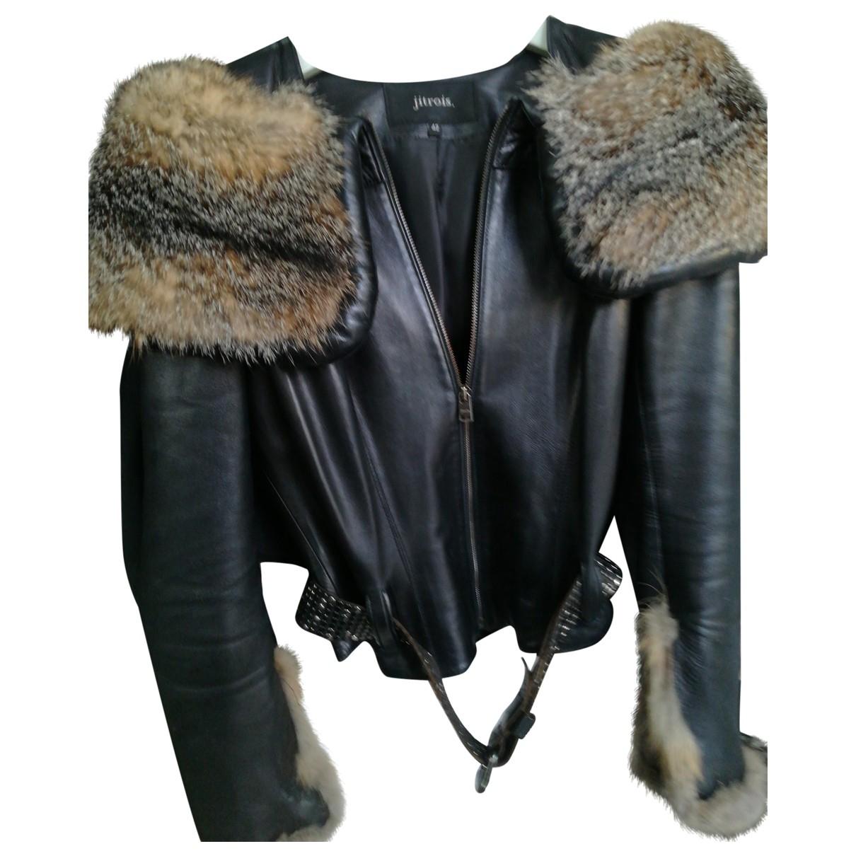 Jitrois - Blouson   pour femme en cuir - noir