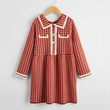 Girls Doll Collar Button Front Plaid Sweater Dress