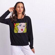 Pop Art Print Round Neck Sweatshirt