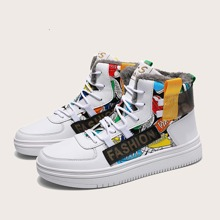Guys Letter Graphic High Top Sneakers
