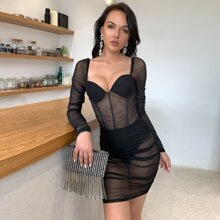 Ruched Sheer Mesh Panty Insert Bustier Bodycon Dress