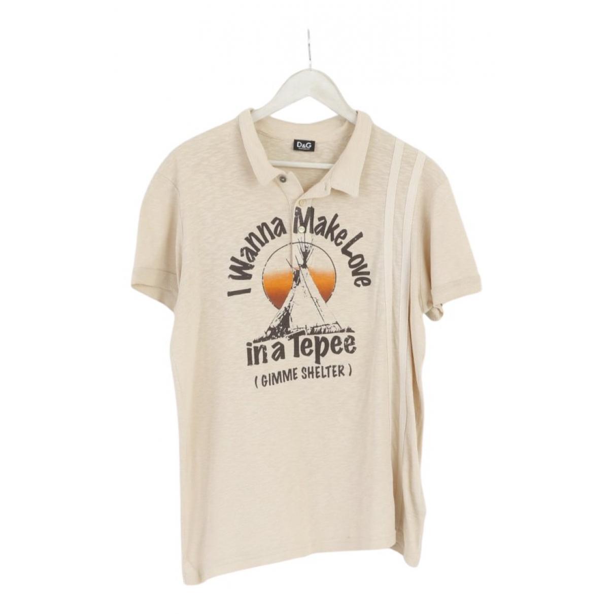 D&g - Polos   pour homme en coton - beige