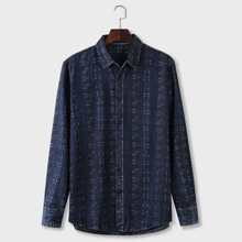 Men Allover Print Button Up Denim Shirt