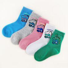 5pairs Toddler Kids Cartoon Dinosaur Graphic Socks