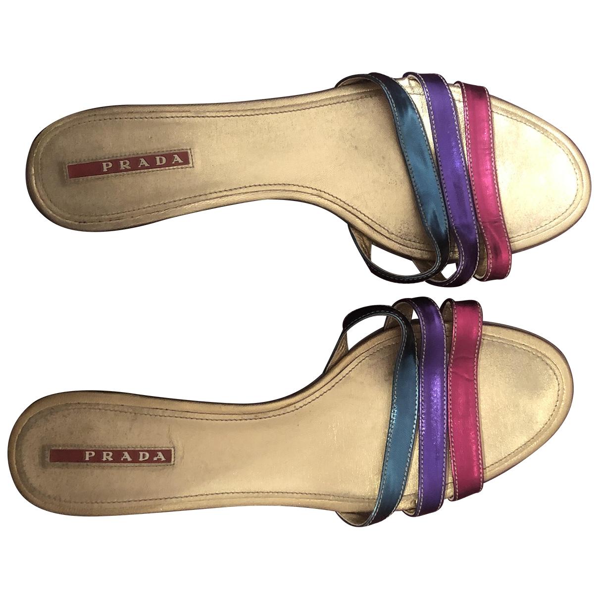 Prada - Sandales   pour femme en cuir - metallise