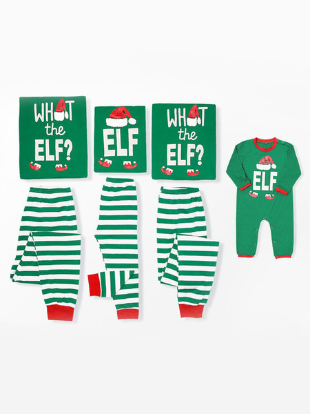 Milanoo Christmas Matching Family Pajamas Mother Green Striped Printed Top And Pants 2 Piece Set For Women