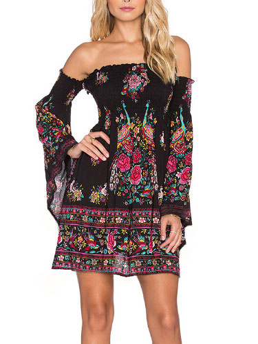 Milanoo Black Off-The-Shoulder Boho Dress Floral Print long Sleeves Summer Dresses for Women Short Sundress