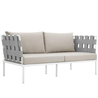 Harmony Collection EEI-2603-WHI-BEI 65 Outdoor Patio Loveseat with White Aluminum Frame  Dense Foam Padding and All-Weather Canvas Fabric Cushions