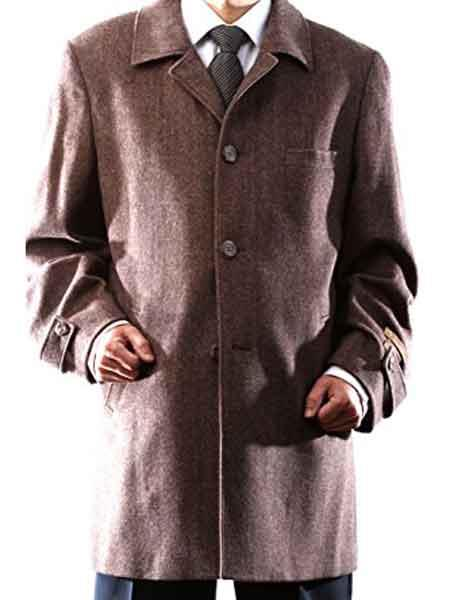 3 Buttons Brown Notch Lapel Luxury Wool/Cashmere Back Vent Topcoat