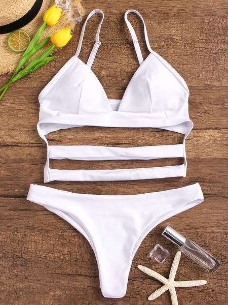 Yoins White Spaghetti Cut Out Bikini Sets
