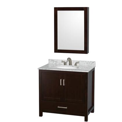 WCS141436SESCMUNOMED 36 in. Single Bathroom Vanity in Espresso  White Carrera Marble Countertop  Undermount Oval Sink  and Medicine