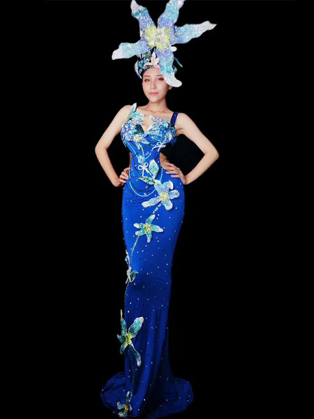 Milanoo Jazz Dance Costume Sexy Beading Blue Maxi Dresses Women Nightclub Wear Halloween