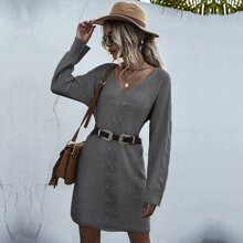 Cable Knit Sweater Dress Without Belted