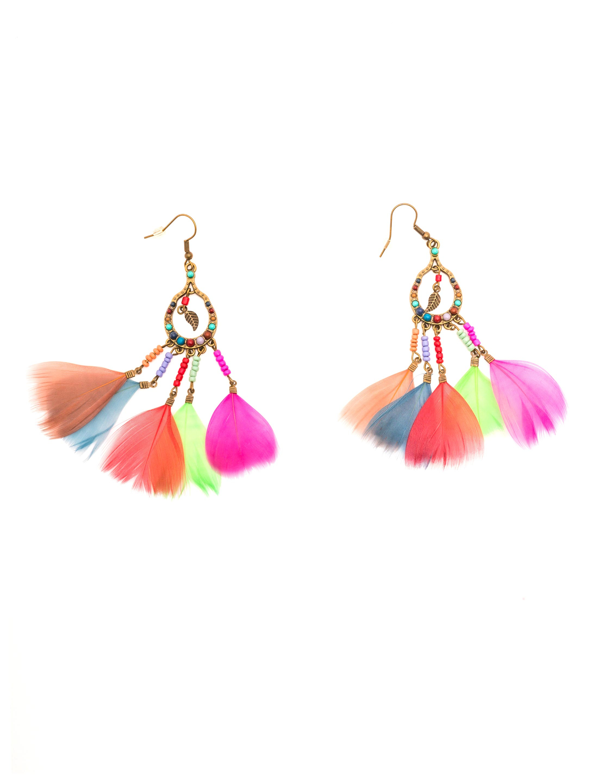 Kostuemzubehor Ohrringe Indianerin mit Federn bunt Farbe: Multicolor