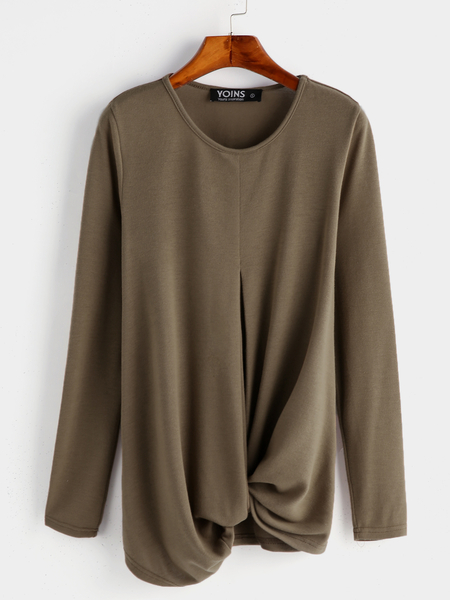 Yoins Casual Brown Knotted Front Design Round Neck Long Sleeves T-shirts