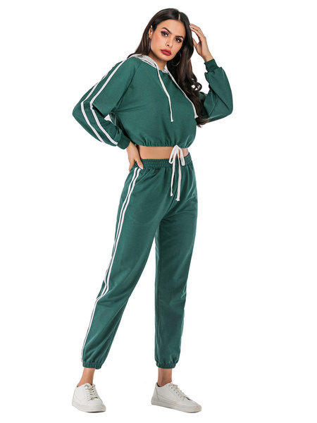 Milanoo Women\'s Two Piece Sets Green Cotton Classic Winter Long Sleeves Hooded Outfit