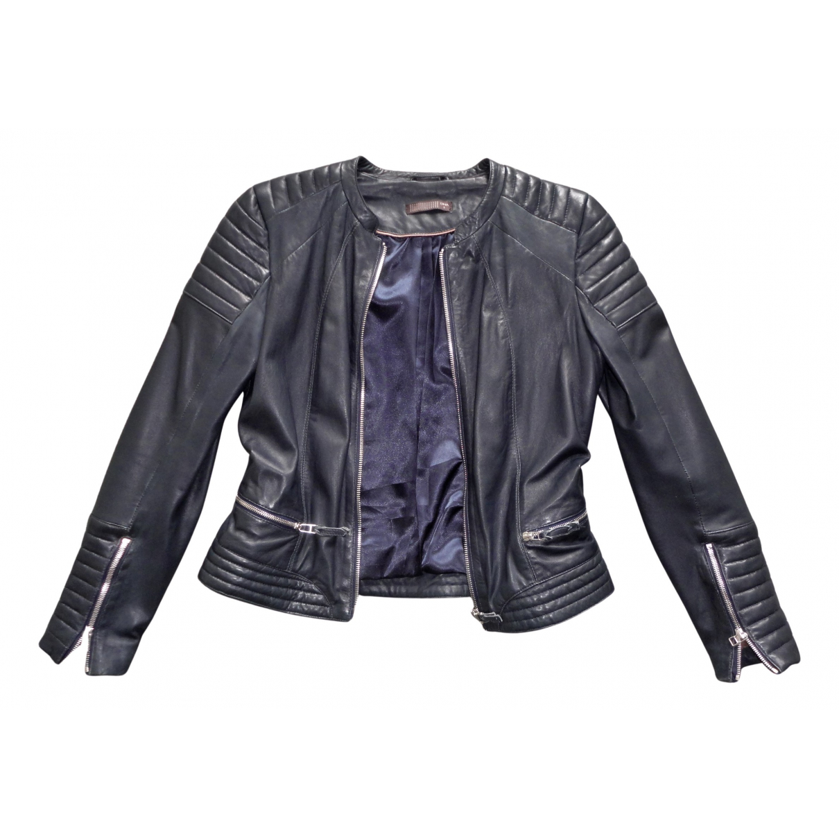 Dna N Navy Leather Leather jacket for Women 3 0-5