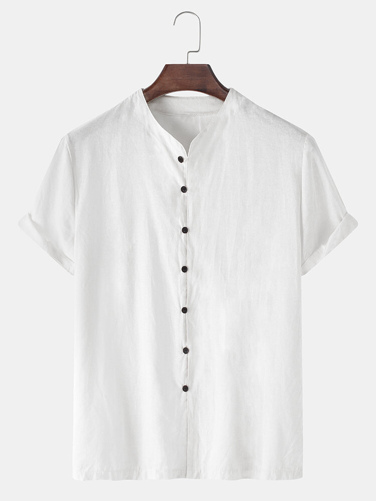 Mens Solid Color Stand Collar Flax Loose Casual Short Sleeve Shirts